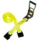 "2""x22' Ratchet Tie Down w/ Flat Hooks (yellow)"